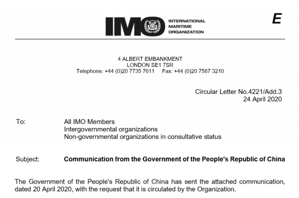 Communication from Chinese Government to IMO and International Industry for Guidance on How to Handl